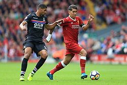 19th August 2017 - Premier League - Liverpool v Crystal Palace - Roberto Firmino of Liverpool battles with Ruben Loftus-Cheek of Palace - Photo: Simon Stacpoole / Offside.