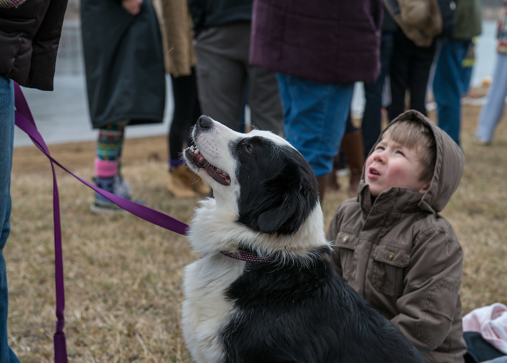 "Harper Riddle and his dog ""Patch"" wait in anticipations for Harper's dad to take the plunge into Lake Snowdon at the annual Polar Plunge."