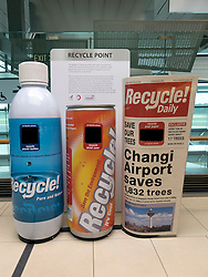 Waste bins designed for recycling at Changi Airport in Singapore