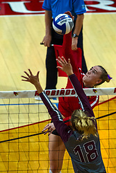 BLOOMINGTON, IL - September 28:  during a college Women's volleyball match between the ISU Redbirds and the Southern Illinois Salukis on September 28 2019 at Illinois State University in Normal, IL. (Photo by Alan Look)