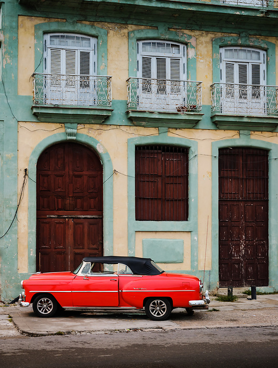 HAVANA, CUBA - CIRCA MAY 2017:  Classic Bel Air car parked in front of a building in Havana.