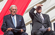 Eli Broad, left,  and Gov. Jerry Brown in the civic dedication at The Broad on September 18, 2015 in downtown Los Angeles.  The Broad, the contemporary art museum built to house the 2,000-piece collection acquired over decades by billionaire philanthropist Eli Broad and his wife, Edye. (Photo by Ringo Chiu/PHOTOFORMULA.com)