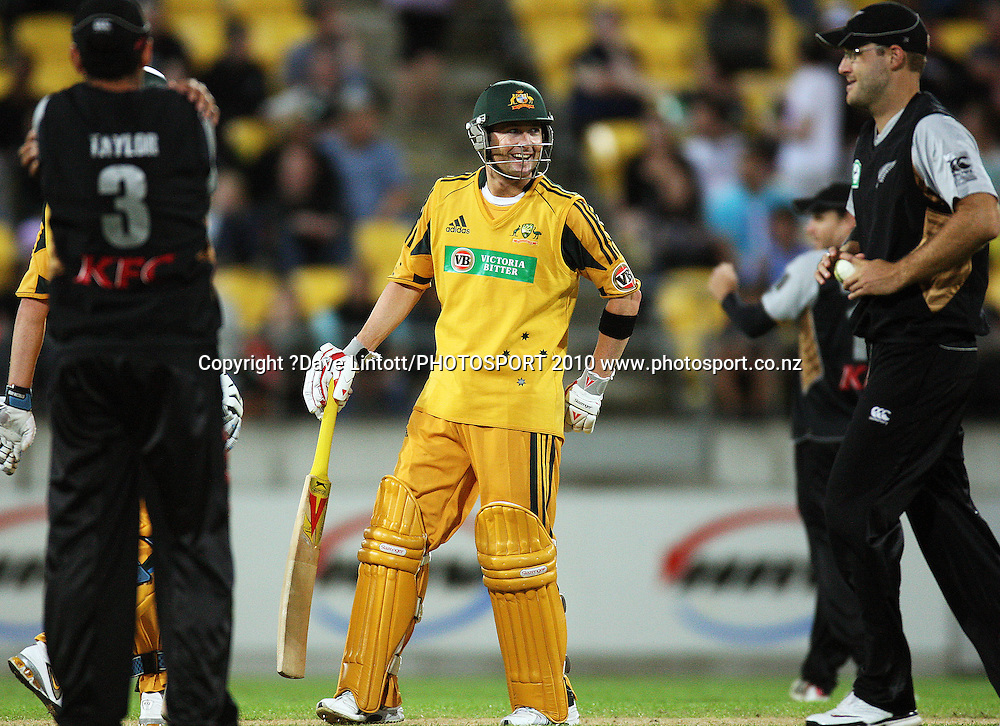 Australian captain Michael Clarke.<br /> 1st Twenty20 cricket match - New Zealand v Australia at Westpac Stadium, Wellington. Friday, 26 February 2010. Photo: Dave Lintott/PHOTOSPORT