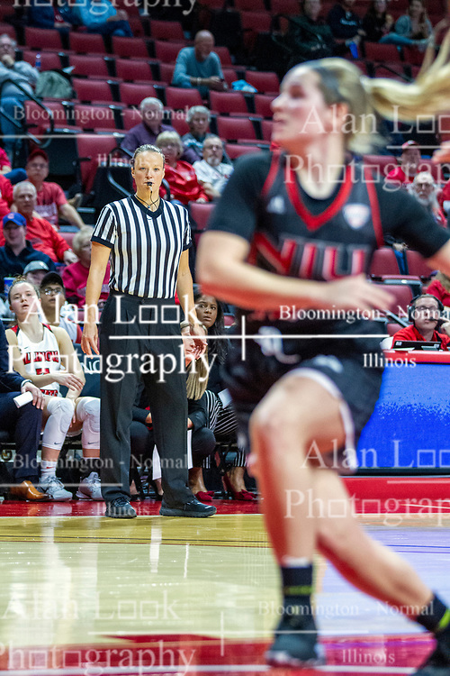 NORMAL, IL - November 20:  Referee Molly Caldwell watches the action from the sideline during a college women's basketball game between the ISU Redbirds and the Huskies of Northern Illinois November 20 2019 at Redbird Arena in Normal, IL. (Photo by Alan Look)