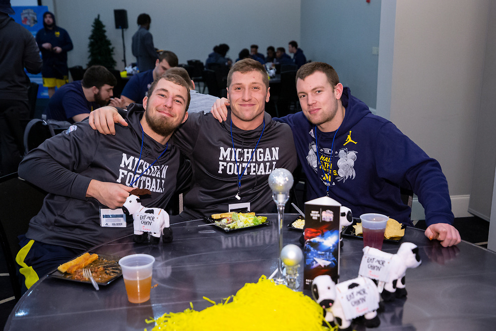 The Michigan Wolverines visit Andretti Indoor Karting and Games on Monday, December 24, 2018 in Marietta, GA. Michigan will face Florida in the 2018 Chick-fil-A Peach Bowl on December 29, 2018. (Jeannie Abell via Abell Images for the Chick-fil-A Peach Bowl)