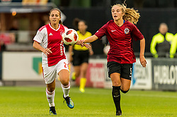 (L-R) Vanity Lewerissa of Ajax women, Schuyler Hesseltine Debree of AC Sparta Praha women during the UEFA Women's Champions League match between Ajax Amsterdam and Sparta Praag at Sportpark De Toekomst on September 12, 2018 in Amsterdam, The Netherlands