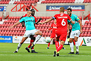 Haydn Hollis (32) of Forest Green Rovers looking to stab the ball towards the goal during the Carabao Cup match between Swindon Town and Forest Green Rovers at the County Ground, Swindon, England on 14 August 2018.