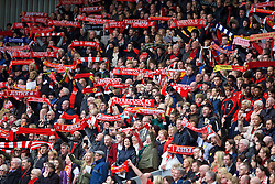 "LIVERPOOL, ENGLAND - Friday, April 15, 2016: Supporters on the Spion Kop sing the club's anthem ""You'll Never Walk Alone"" during the 27th Anniversary Hillsborough Service at Anfield. (Pic by David Rawcliffe/Propaganda)"