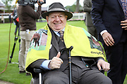 The thumbs up from REG BOND the Owner and Breeder of LADIES FIRST winner of The Eventmasters.co.uk Apprentice Handicap Stakes over 7f (£17,000)   during the Newby and the Press Family Raceday at York Racecourse, York, United Kingdom on 9 September 2018. Picture by Mick Atkins.