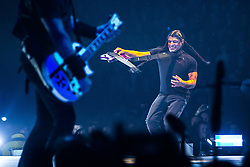 © Licensed to London News Pictures . 28/10/2017 . Manchester , UK . Robert Trujillo . Metallica perform at the Manchester Arena . Photo credit : Joel Goodman/LNP