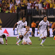 EAST RUTHERFORD, NEW JERSEY - JUNE 17: Colombia players react to Peru's final penalty miss to win the penalty shoot out, from left, Santiago Arias #4, Carlos Bacca #7, Jeison Murillo #22, Juan Cuadrado #11, James Rodriguez #10, Dayro Moreno #17 and Sebastian Perez #13 of Colombia during the Colombia Vs Peru Quarterfinal match of the Copa America Centenario USA 2016 Tournament at MetLife Stadium on June 17, 2016 in East Rutherford, New Jersey. (Photo by Tim Clayton/Corbis via Getty Images)