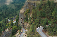 Scenic image of the Rowena Curves along Highway 30 in the Columbia Gorge, OR