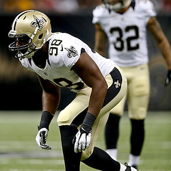 Aug 9, 2013; New Orleans, LA, USA; New Orleans Saints defensive end Baraka Atkins (98) against the Kansas City Chiefs during a preseason game at the Mercedes-Benz Superdome. The Saints defeated the Chiefs 17-13. Mandatory Credit: Derick E. Hingle-USA TODAY Sports