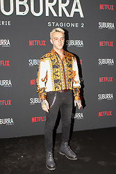 Salmo at the Red Carpet of the series Suburra 2 at Circolo Degli Illuminati in Rome, Italy, 20 February 2019 .Dress: Versace  (Credit Image: © Lucia Casone/Soevermedia via ZUMA Press)