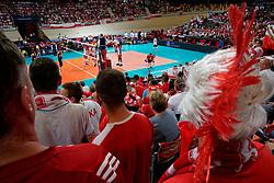 23-09-2019 NED: EC Volleyball 2019 Poland - Germany, Apeldoorn<br /> 1/4 final EC Volleyball - Poland win 3-0 / Poland support view centercourt