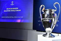 NYON, SWITZERLAND - Friday, July 10, 2020: The European Cup trophy on display before the UEFA Champions League and UEFA Europa League 2019/20 draws for the Quarter-final, Semi-final and Final at the UEFA headquarters, The House of European Football. (Photo Handout/UEFA)