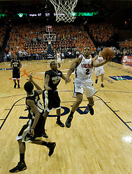 Virginia's J.R. Reynolds (2) on an open shot towards the basket against Wake Forest.  Reynolds had 40 points in the game as the Virginia Cavaliers defeated the Wake Forest Demon Decons 88-76 at the John Paul Jones Arena in Charlottesville, VA on January 21, 2007.