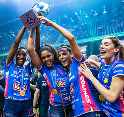 18-05-2019 GER: CEV CL Super Finals Igor Gorgonzola Novara - Imoco Volley Conegliano, Berlin<br /> Igor Gorgonzola Novara take women's title! Novara win 3-1 / Paola Ogechi Egonu #18 of Igor Gorgonzola Novara, Celeste Plak #4 of Igor Gorgonzola Novara, Erblira Bici #13 of Igor Gorgonzola Novara, Francesca Piccinini #12 of Igor Gorgonzola Novara
