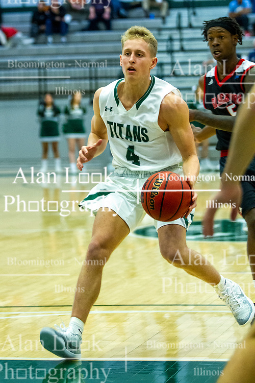 BLOOMINGTON, IL - November 12: Luke Yoder during a college basketball game between the IWU Titans  and the Blackburn Beavers on November 12 2019 at Shirk Center in Bloomington, IL. (Photo by Alan Look)