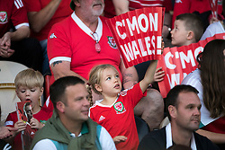 NEWPORT, WALES - Thursday, August 30, 2018: A young Wales spectator in the crowd during the FIFA Women's World Cup 2019 Qualifying Round Group 1 match between Wales and England at Rodney Parade. (Pic by Laura Malkin/Propaganda)