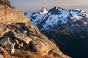 Mount Matier (left 2783 m -9131 ft) and Joffre Peak (2721 m -8927 ft) seen from ridge of Mount Rohr British Columbia Canada beauty in nature