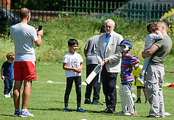 **permission given by parents for children to be photographed** <br /> © Licensed to London News Pictures. 10/06/2017. London, UK. Leader of the Labour Party JEREMY CORBYN holds a cricket bat while visiting a council park in his constituency. The Labour party made significant gains earlier this week in a general election The Conservative Party were expected to win comfortably. Photo credit: Ben Cawthra/LNP