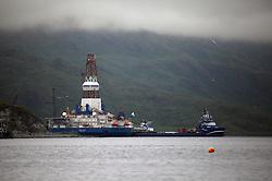 USA ALASKA BERING SEA 4AUG12 - Shell-owned drill rig Kulluk moored in Dutch Harbor, Unalaska, Alaska.....Photo by Jiri Rezac / Greenpeace....© Jiri Rezac / Greenpeace