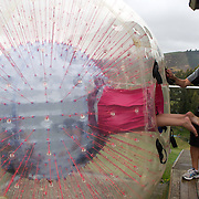 Participants enter a Zorb Globe preparing for a ride down the hill. The sport of Zorb globe riding was invented in New Zealand and globes are designed, manufactured and tested there, The Zorb globe is an 11 foot high inflatable transparent sphere which you can ride inside. Two feet of air protect you from the ground enabling you to globe ride down hills at high.  Agrodome, Western Rd. Ngongotahaha.  Rotorua, New Zealand,, 11th December 2010 Photo Tim Clayton