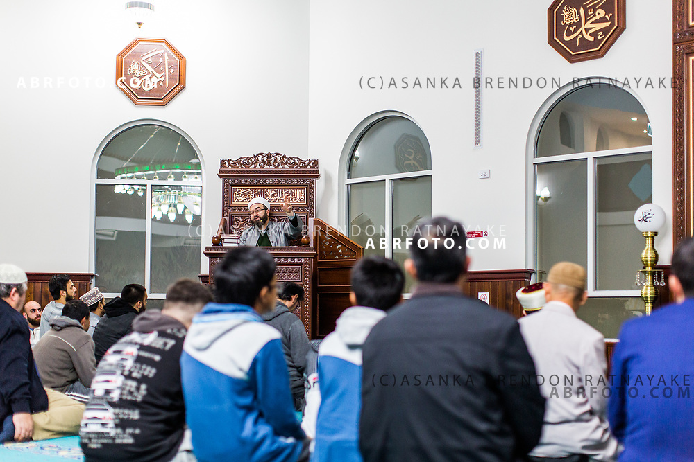 MELBOURNE, AUSTRALIA - JUNE 21 : The Imam speaks at the Emir Sultan Mosque in Dandenong to mark Laylatul al-Qadr in the Muslim holy month of Ramadan in June 21, 2017 in Melbourne, Australia. Laylatul Qadr also known as the Night of Power or Night of Value is believed to be the night Muhammad received the first revelation of the Koran.