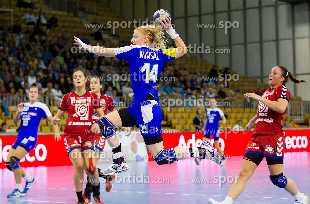 Tamara Mavsar of Slovenia during handball match between Women National teams of Slovenia and Serbia in 2nd Round of Qualifications for 2014 EHF European Championship on October 27, 2013 in Hala Tivoli, Ljubljana, Slovenia. (Photo by Vid Ponikvar / Sportida)