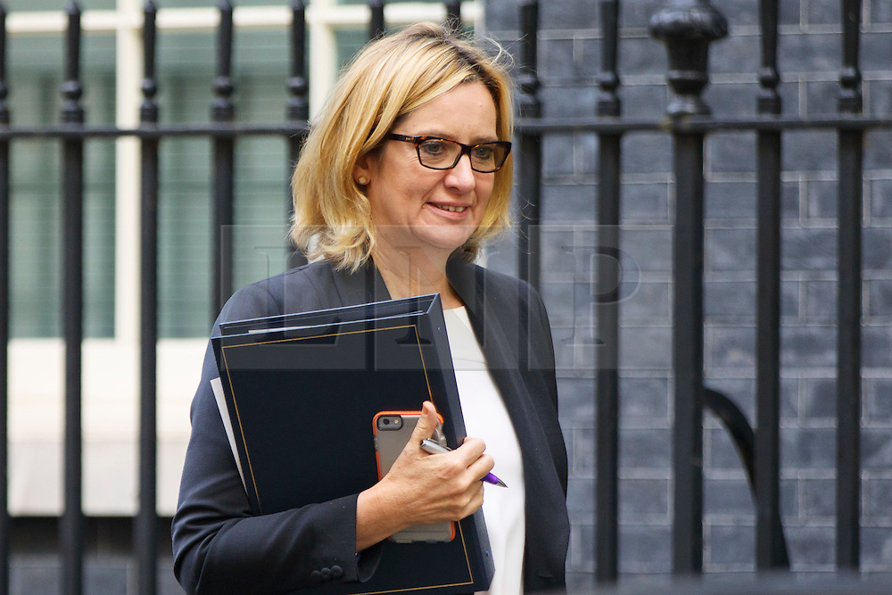 © Licensed to London News Pictures. 18/10/2016. London, UK. Home Secretary AMBER RUDD attends a cabinet meeting in Downing Street on Tuesday, 18 October 2016. Photo credit: Tolga Akmen/LNP