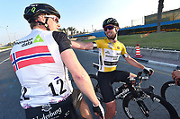 Arrival, Joy, CAVENDISH Mark (GBR) Yellow Leader Jersey and BOASSON HAGEN Edvald (NOR) Team Dimension Data,  during the 15th Tour of Qatar 2016, Stage 5, Sealine Beach Resort - Doha Corniche (114,5Km), on February 12, 2016 - Photo Tim de Waele / DPPI
