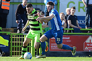 Forest Green Rovers midfielder Jake Gosling (31) takes on North Ferriby United defender Ben Middleton (15) 0-0 during the Vanarama National League match between Forest Green Rovers and North Ferriby United at the New Lawn, Forest Green, United Kingdom on 1 April 2017. Photo by Alan Franklin.