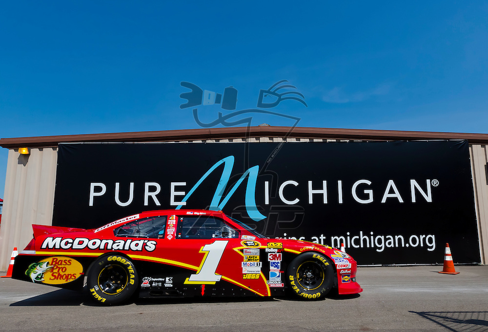 BROOKLYN, MI - JUN 15, 2012:  Jamie McMurray (1) brings his car back into the garage area during a practice for the Quicken Loans 400 at the Michigan International Speedway in Brooklyn, MI.