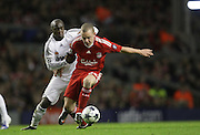 Jay Spearing gets away from Lassana Diarra..Uefa Champions League, First knock-out round, second leg..Liverpool v Real Madrid..Anfield..10.03.09.