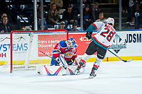 KELOWNA, CANADA - FEBRUARY 17: Todd Scott #35 of the Edmonton Oil Kings makes a shoot out save on a shot by Leif Mattson #28 of the Kelowna Rockets  on February 17, 2018 at Prospera Place in Kelowna, British Columbia, Canada.  (Photo by Marissa Baecker/Shoot the Breeze)  *** Local Caption ***