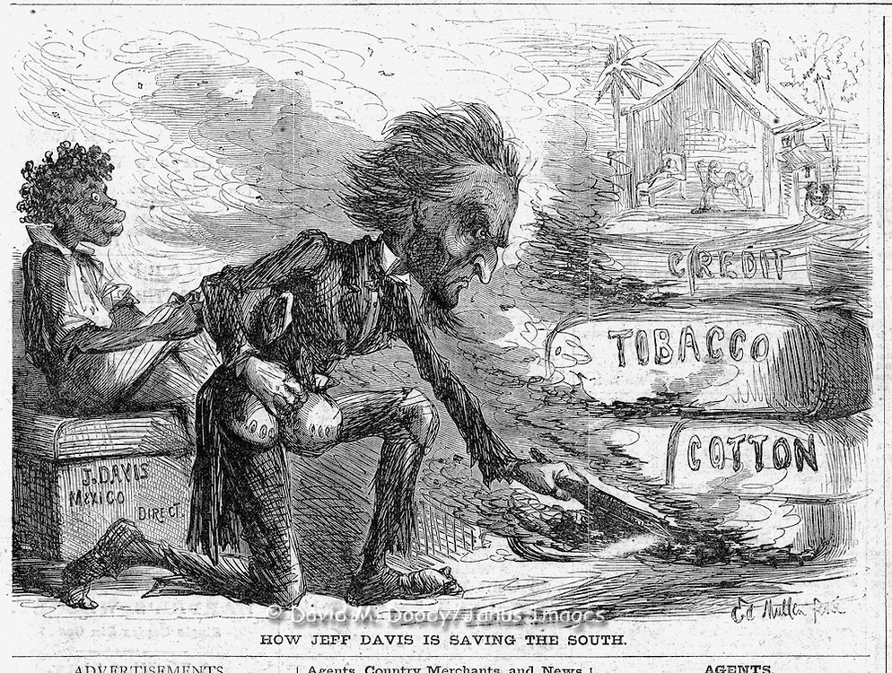 """Civil War Political cartoons and advertisements    """"How Jeff Davis is Saving the South""""  (burning his own cotton and tobacco). Harper's Weekly April 19, 1862"""