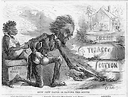 "Civil War Political cartoons and advertisements    ""How Jeff Davis is Saving the South""  (burning his own cotton and tobacco). Harper's Weekly April 19, 1862"