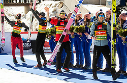 Winning team of Poland: Piotr Zyla (POL), Dawid Kubacki (POL), Jakub Wolny (POL) and Kamil Stoch (POL) celebrate during Trophy ceremony after the Ski Flying Hill Team Competition at Day 3 of FIS Ski Jumping World Cup Final 2019, on March 23, 2019 in Planica, Slovenia. Photo by Vid Ponikvar / Sportida