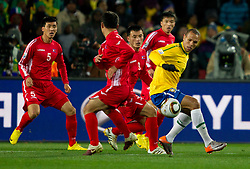 Brazil's Luis Fabiano  during the 2010 FIFA World Cup South Africa Group G match between Brazil and North Korea at Ellis Park Stadium on June 15, 2010 in Johannesburg, South Africa.  (Photo by Vid Ponikvar / Sportida)