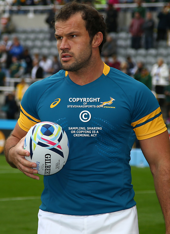 NEWCASTLE UPON TYNE, ENGLAND - OCTOBER 03:  Bismarck du Plessis of South Africa during the Rugby World Cup 2015 Pool B match between South Africa and Scotland at St James Park on October 03, 2015 in Newcastle upon Tyne, England. (Photo by Steve Haag/Gallo Images)