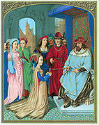 King Solomon welcoming the Queen of Sheba. 'Bible' I Kings10: 2. Chromolithograph after miniature in Breviary of Cardinal Grimani attributed to Memling. 15th century.