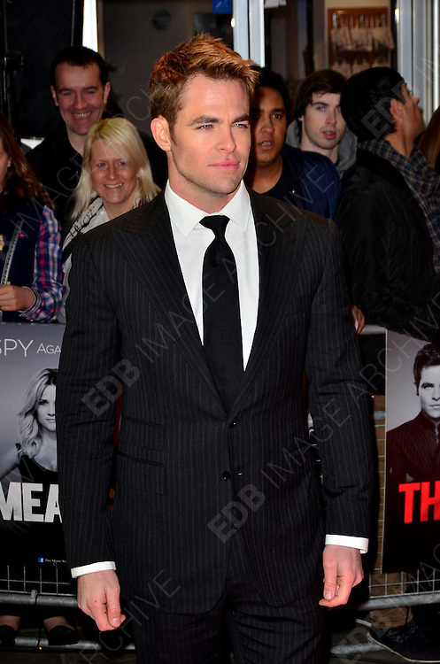 30.JANUARY.2012. LONDON<br /> <br /> CHRIS PINE ATTENDS THE UK PREMIERE OF THIS MEANS WAR AT THE ODEON KENSINGTON IN LONDON<br /> <br /> BYLINE: EDBIMAGEARCHIVE.COM<br /> <br /> *THIS IMAGE IS STRICTLY FOR UK NEWSPAPERS AND MAGAZINES ONLY*<br /> *FOR WORLD WIDE SALES AND WEB USE PLEASE CONTACT EDBIMAGEARCHIVE - 0208 954 5968*