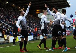 Danny Lloyd of Peterborough United (left) celebrates his goal with team-mate Alex Penny (right) - Mandatory by-line: Joe Dent/JMP - 26/12/2017 - FOOTBALL - Northern Commercials Stadium - Bradford, England - Bradford City v Peterborough United - Sky Bet League One