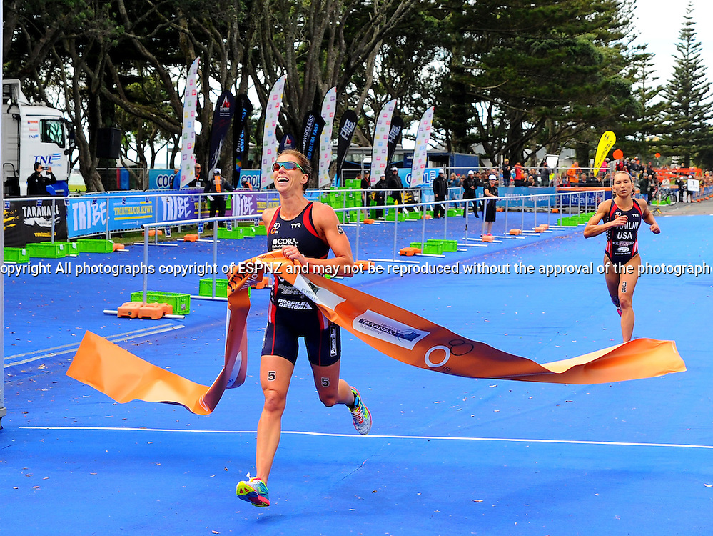 Kaitlin Donner winning the elite woman's 2015 New Plymouth ITU Triathlon World Cup held at Ngamotu beach New Plymouth Sunday 22nd March.<br /> Photo John Velvin ESPNZ<br /> www.elitesportsphotographynz.com