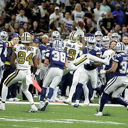 Sep 29, 2019; New Orleans, LA, USA; New Orleans Saints wide receiver Ted Ginn (19) is hit by Dallas Cowboys strong safety Jeff Heath (38) as he attempts a catch deflecting the ball that intercepted on the play during the first quarter at the Mercedes-Benz Superdome. Mandatory Credit: Derick E. Hingle-USA TODAY Sports
