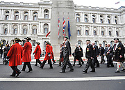 Veterans march past the Cenotaph. The Prime Minister, HRH Prince Charles and Duchess of Cornwall attend the 65th Anniversary of Japan's WWII surrender.