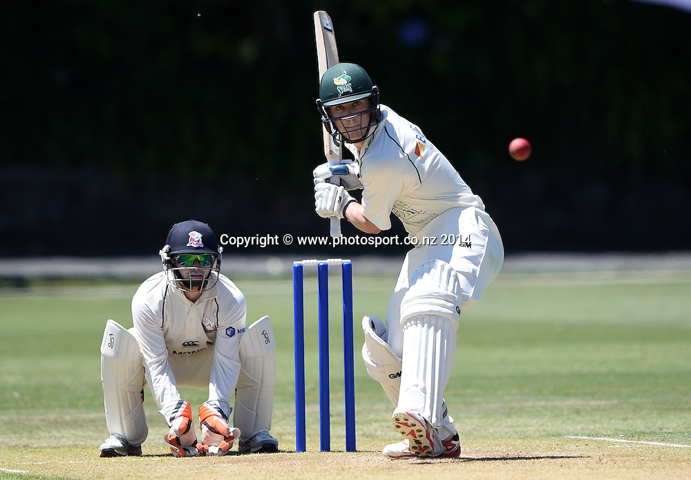 CD's Will Young batting during the Plunket Shield 4 day cricket match between Auckland Aces and Central Stags at the Eden Park Outer Oval, Auckland, New Zealand. Friday 19 December 2014. Photo: Andrew Cornaga/www.Photosport.co.nz