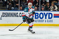 KELOWNA, CANADA - FEBRUARY 2:  Matt Barberis #22 of the Kelowna Rockets skates against the Kamloops Blazers on February 2, 2019 at Prospera Place in Kelowna, British Columbia, Canada.  (Photo by Marissa Baecker/Shoot the Breeze)