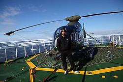 ATLANTIC OCEAN ABOARD ARCTIC SUNRISE 31MAY11 - Heli pilot Vlad Stolica of Sweden   aboard the Greenpeace Ship Arctic Sunrise in the Arctic sea ice in the Labrador Sea.....jre/Photo by Jiri Rezac / Greenpeace
